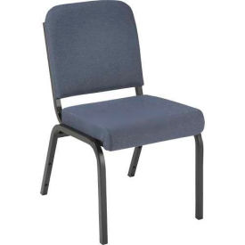 """Kfi 2"""" Front Roll Seat Stacking Chair, Gray Fabric/Black Steel Frame"""