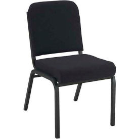 """KFI Stacking Chair with Front Roll - Armless - 2"""" Black Fabric/Black Steel Frame"""