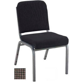 """KFI Stacking Chair with Front Roll - Armless - 2"""" Brown Fabric/Silver Vein Steel Frame"""