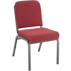 """KFI Stacking Chair with Front Roll - Armless - 2"""" Cabernet Fabric/Silver Vein Steel Frame"""