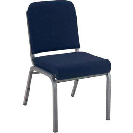 """Kfi 2"""" Front Roll Seat Stacking Chair, Navy Fabric/Silver Vein Steel Frame"""