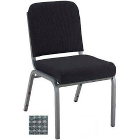 """Kfi 2"""" Front Roll Seat Stacking Chair, Gray Fabric/Silver Vein Steel Frame"""
