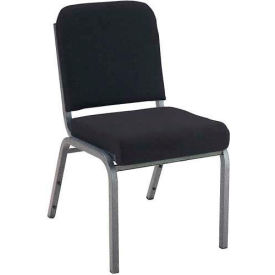"KFI 2"" Front Roll Seat Stacking Chair, Black Fabric/Silver Vein Steel Frame"