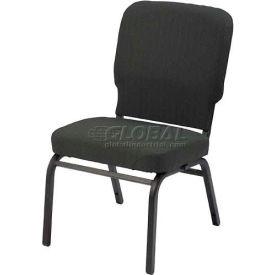 Kfi Oversized Church Stacking Armless Chair, Emerald Fabric/Black Frame