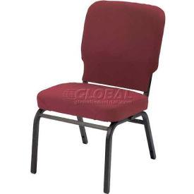 Kfi Oversized Church Stacking Armless Chair, Red Wine Vinyl Black Frame