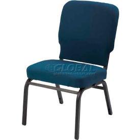 Kfi Oversized Church Stacking Armless Chair, Navy Vinyl Black Frame