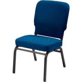 Kfi Oversized Church Stacking Armless Chair, Cobalt Blue Fabric/Black Frame