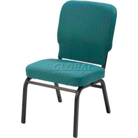 Kfi Oversized Church Stacking Armless Chair, Aloe Fabric/Black Frame