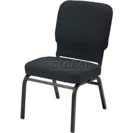 Kfi Oversized Church Stacking Armless Chair, Black Vinyl Black Frame