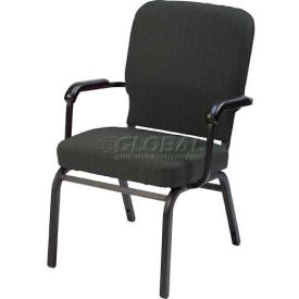 Kfi Oversized Church Stacking Chair With Arms, Slate Fabric/Black Frame