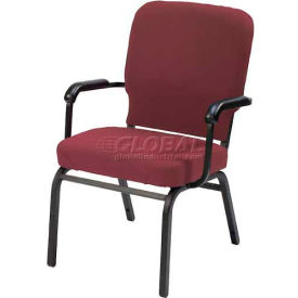 Kfi Oversized Church Stacking Chair With Arms, Red Wine Vinyl Black Frame