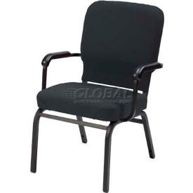 Kfi Oversized Church Stacking Chair With Arms, Gray Vinyl Black Frame