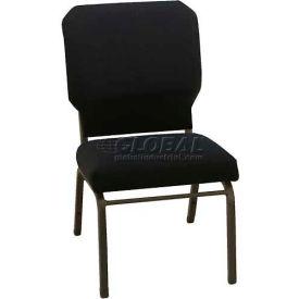"Kfi Church Stacking Chair, 3"" Box Seat, Slate Fabric/Black Steel Frame"