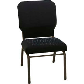 "Kfi Church Stacking Chair, 3"" Box Seat, Standard Black Fabric/Black Frame"