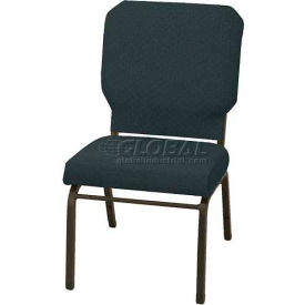 "Kfi Church Stacking Chair, 3"" Box Seat, Patriot Blue Fabric/Black Frame"