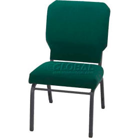 "KFI Church Stacking Chair, 3"" Box Seat, Emerald Fabric/Silver Vein Steel Frame"