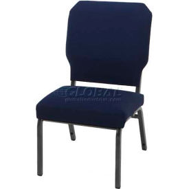 "KFI Church Stacking Chair, 3"" Box Seat, Slate Fabric/Silver Vein Steel Frame"