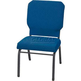 "KFI Church Stacking Chair, 3"" Box Seat, Cobalt Blue Fabric/Silver Vein Frame"