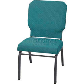 "KFI Church Stacking Chair, 3"" Box Seat, Aloe Fabric/Silver Vein Frame"