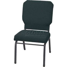 "Kfi Church Stacking Chair, 3"" Box Seat, Designer Black Fabric/Silver Vein Frame"