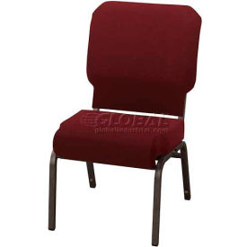 """Kfi Church Stacking Chair, 3"""" Front Roll Seat, Maroon Fabric/Black Steel Frame"""