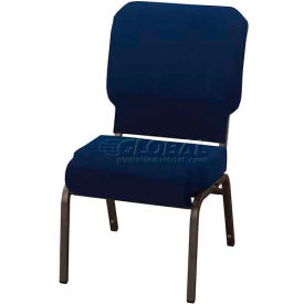 "Kfi Church Stacking Chair, 3"" Front Roll Seat, Indigo Fabric/Black Steel Frame"