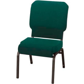 """KFI Church Chair with Front Roll Seat - Armless - Stacking - 3"""" Emerald Fabric/Black Frame"""
