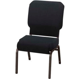 """KFI Church Chair with Front Roll Seat - Armless - Stacking - 3"""" Black Fabric/Black Frame"""