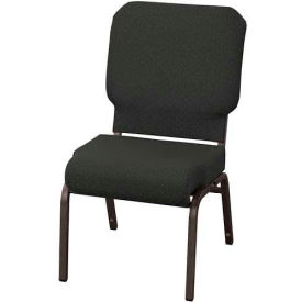 """KFI Church Chair with Front Roll Seat - Armless - Stacking - 3"""" Pewter Fabric/Black Frame"""