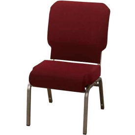"""KFI Church Chair with Front Roll Seat - Armless - Stacking - 3"""" Maroon Fabric/Silver Vein Frame"""