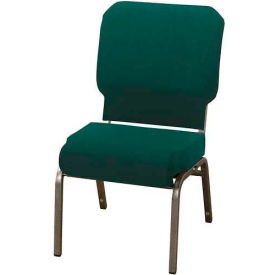 "KFI Church Chair with Front Roll Seat - Armless - Stacking - 3"" Emerald Fabric/Silver Vein Frame"