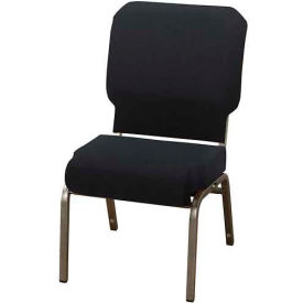 """KFI Church Chair with Front Roll Seat - Armless - Stacking - 3"""" Black Fabric/Silver Vein Frame"""