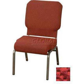 """Kfi Church Stacking Chair, 3"""" Front Roll Seat, Poppy Fabric/Silver Vein Frame"""