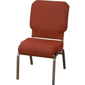 """KFI Church Chair with Front Roll Seat - Armless - Stacking - 3"""" Azure Fabric/Silver Vein Frame"""