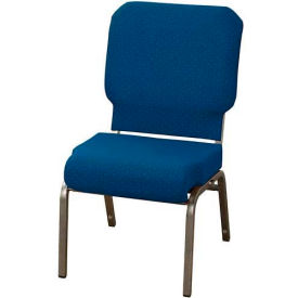 "KFI Church Chair with Front Roll Seat - Armless - Stacking - 3"" Cobalt Blue Fabric/Silver Vein Frame"