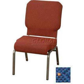 """Kfi Church Stacking Chair, 3"""" Front Roll Seat, Patriot Blue Fabric/Silver Vein Frame"""