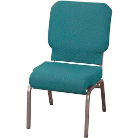 "KFI Church Stacking Chair, 3"" Front Roll Seat, Aloe Fabric/Silver Vein Frame"