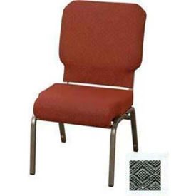 """KFI Church Chair with Front Roll Seat - Armless - Stacking - 3"""" Pewter Fabric/Silver Vein Frame"""