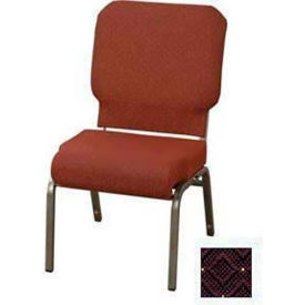"""Kfi Church Stacking Chair, 3"""" Front Roll Seat, Aubergine Fabric, Silver Vein"""