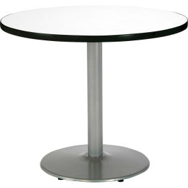 "KFI 30"" Round Pedestal Table With Crisp Linen Top, Round Silver Base by"