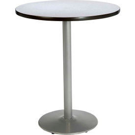 "KFI 30"" Round Pedestal Table With Grey Nebula Top, Round Silver Base. Bistro Height by"