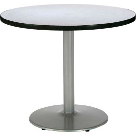 "KFI 30"" Round Pedestal Table With Grey Nebula Top, Round Silver Base by"