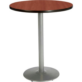 "KFI 30"" Round Pedestal Table With Mahogany Top, Round Silver Base, Bistro Height by"