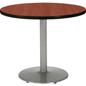 "KFI 30"" Round Pedestal Table With Mahogany Top, Round Silver Base by"