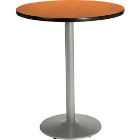 "KFI 30"" Round Pedestal Table With Medium Oak Top, Round Silver Base, Bistro Height by"