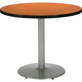 "KFI 30"" Round Pedestal Table With Medium Oak Top, Round Silver Base by"