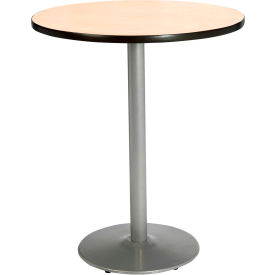 "KFI 30"" Round Pedestal Table With Natural Top, Round Silver Base, Bistro Height by"