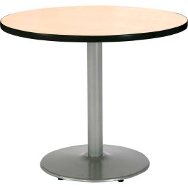 "KFI 30"" Round Pedestal Table With Natural Top, Round Silver Base by"