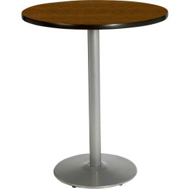 "KFI 30"" Round Pedestal Table With Walnut Top, Round Silver Base, Bistro Height by"