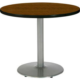 "KFI 30"" Round Pedestal Table With Walnut Top, Round Silver Base by"